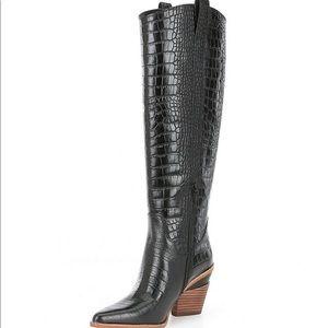 Gianni Bini black croco tall boots